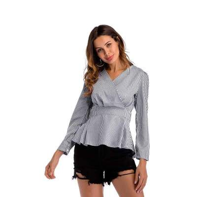 Fashion V neck Skater V neck Plaid Blouses