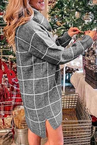 Fashion Casual Plaid Pile collar Long sleeve Shift Dresses