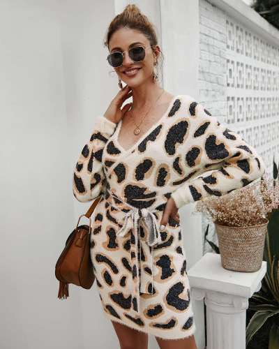 Fashion Plush Point Print Long sleeve V nevk Skater Dresses
