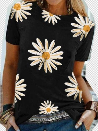 Casual Round neck Print Short sleeve T-Shirts