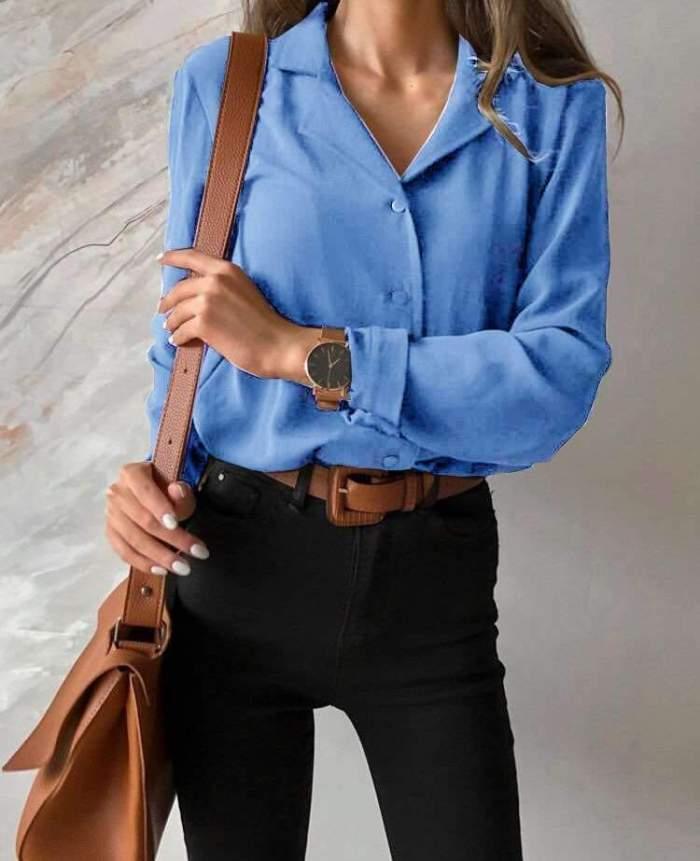Pure Lapel Plus Long sleeve Blouses