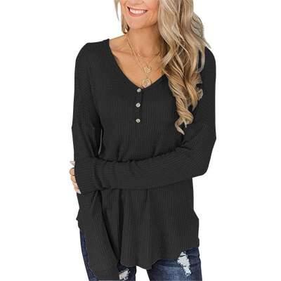 Loose  Fastener Long sleeve V neck T-Shirts