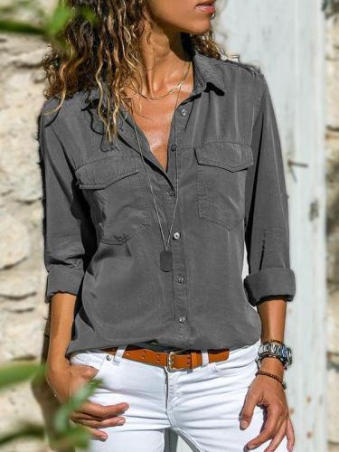 Women Long sleeve Lapel Blouses