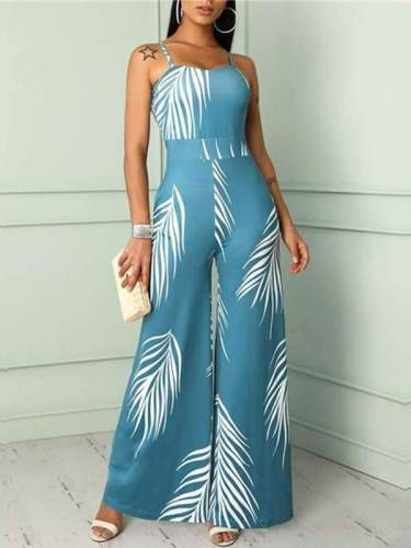Fashion Printed High Waist Strap Jumpsuits