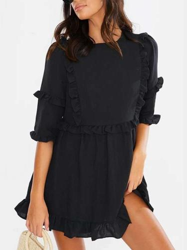 Casual Pure Round neck Half sleeve Stringy selvedge Shift Dresses