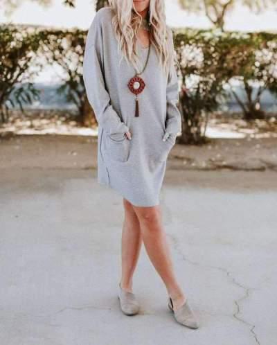 Fashion Loose Round neck Long sleeve Pocket Shift Dresses