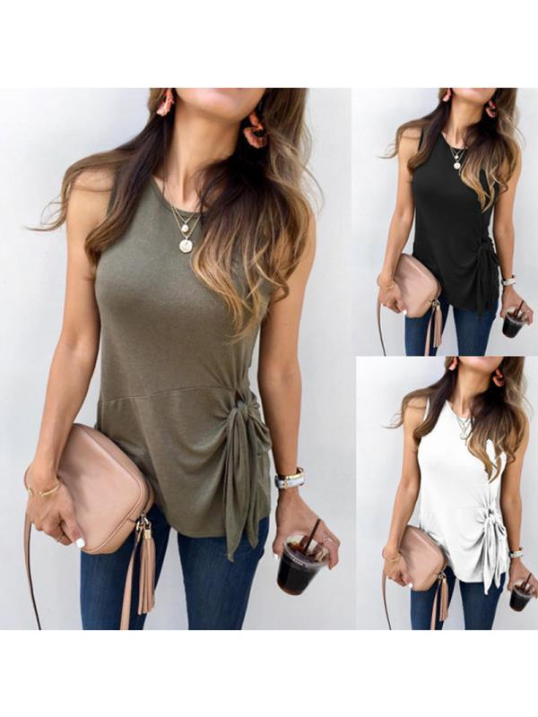 Casual Plain Stylish sleeveless knotted T-shirt