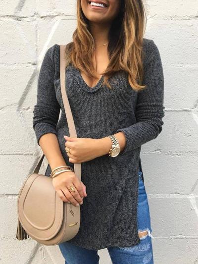 Woman V-neck Long Sleeve Slit Under Sweater