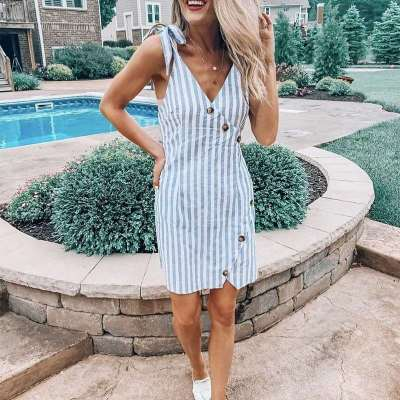 Casual Stripe V neck Sleeveless Shift Dresses