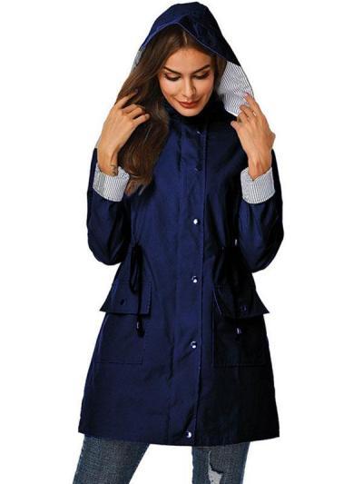Casual hooded women plain tie waist Trench coats