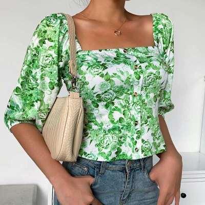 Fashion Print Square collar Half sleeve Blouses