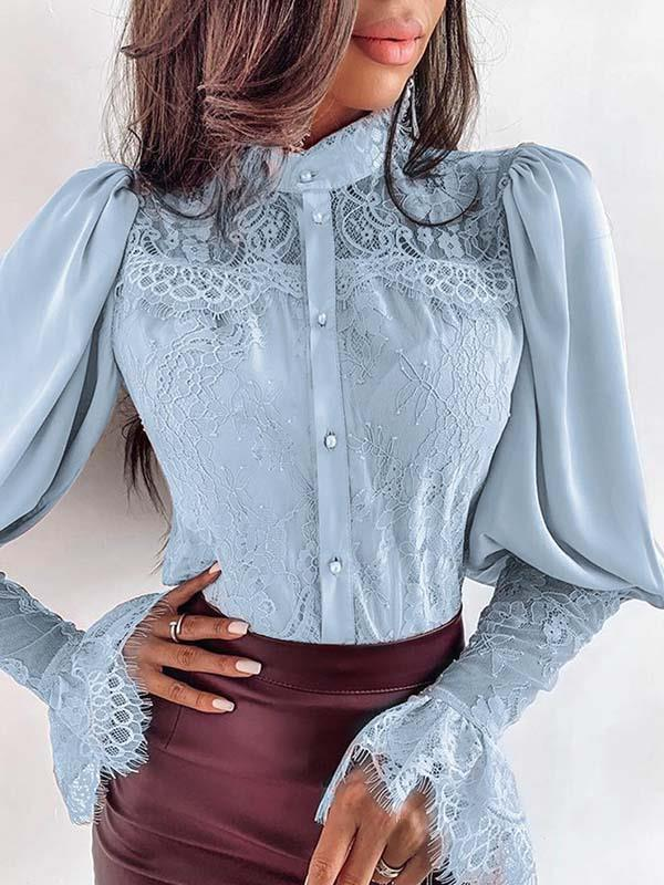 Round neck women lace sexy long sleeve blouses