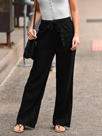 Women plain tie waist casual long pants