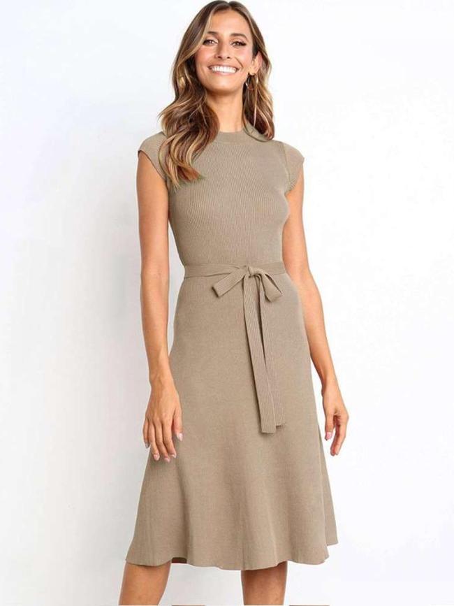 Fashion Pure Round neck Short sleeve Lacing Skater Dresses