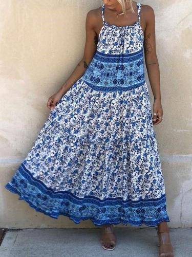Casual Loose Print Vest Sleeveless Maxi Dresses