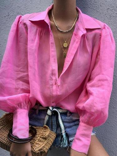 Loose Casual Long sleeve Turn down collar Blouses