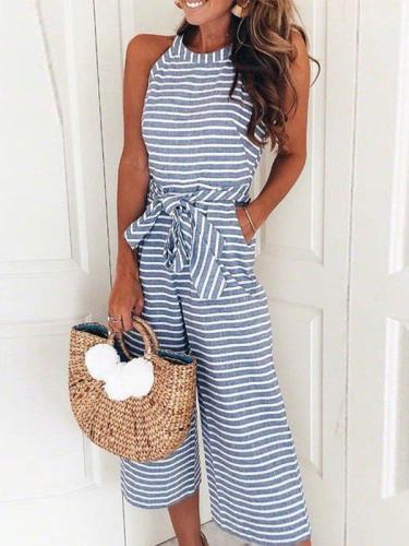 Fashion Striped Vacation Sleeveless Casual Jumpsuits