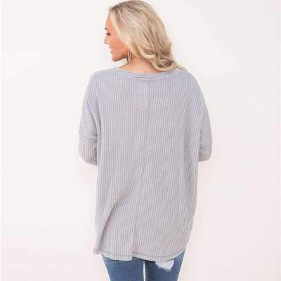 Loose V neck Fastener  Long sleeve T-Shirts