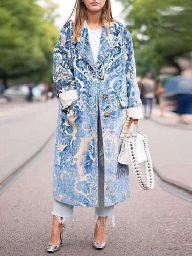 Fashion Print Long sleeve Coats