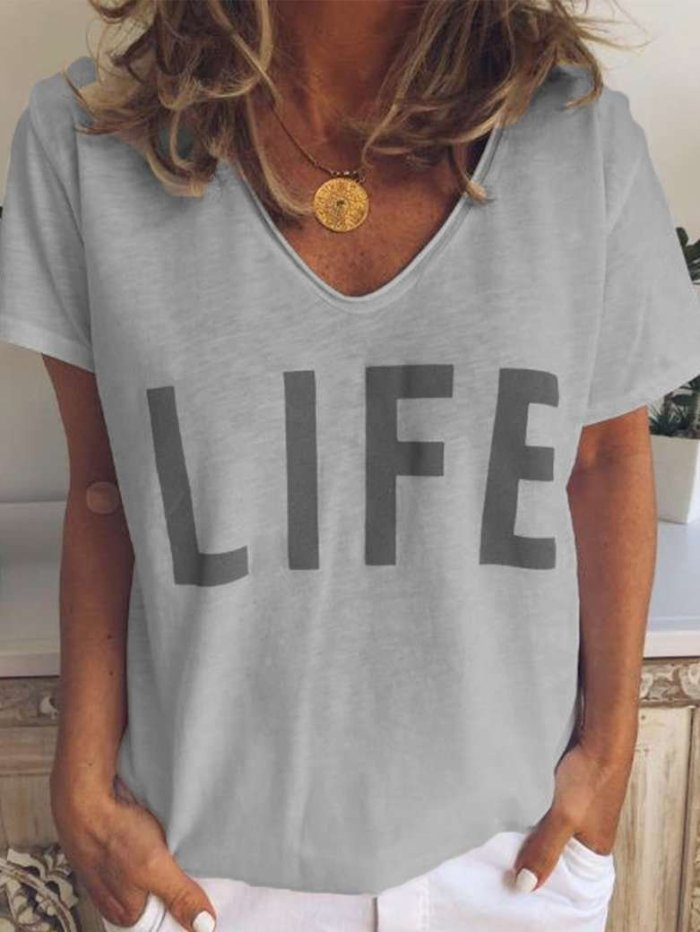 V neck Print Short sleeve T-Shirts