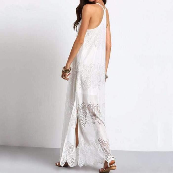 Sexy Lace V neck Gored Vest Maxi Dresses