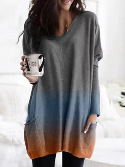 Fashion Gradient V-Neck Loose Dress