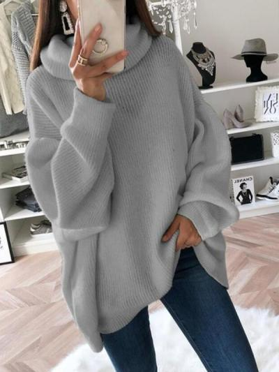 Women plain knit fashion high neck sweaters