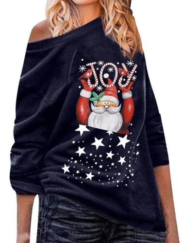 Women one off shoulder printed christmas T-shirts