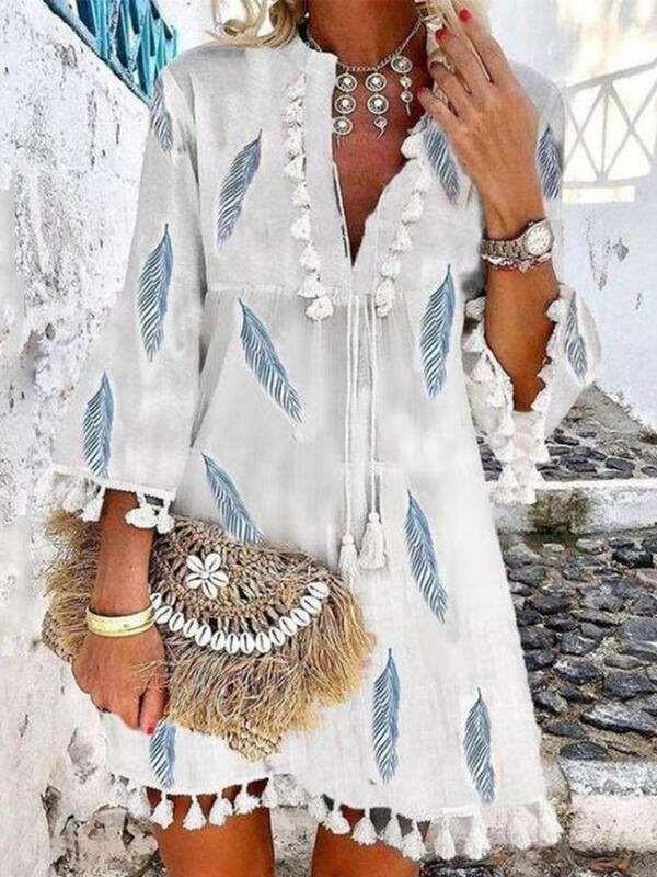 Fashion Casual Print V neck Three quarter sleeve Macrame Shift Dresses