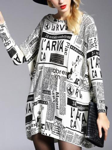 Long Sweater Pullover Print Wool Blend Loose Sweater