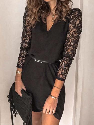 Mosaic lace v neck long sleeve bodycon dresses