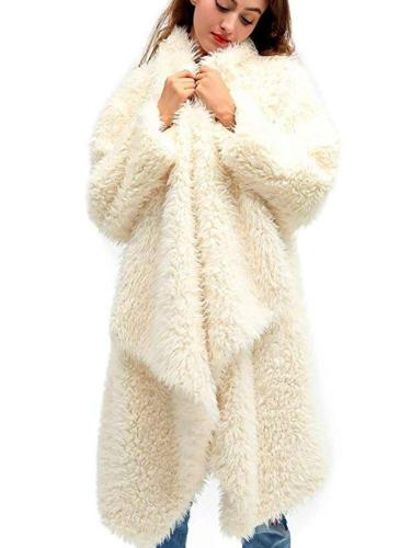 Fashion Plush Pure Long sleeve Coats