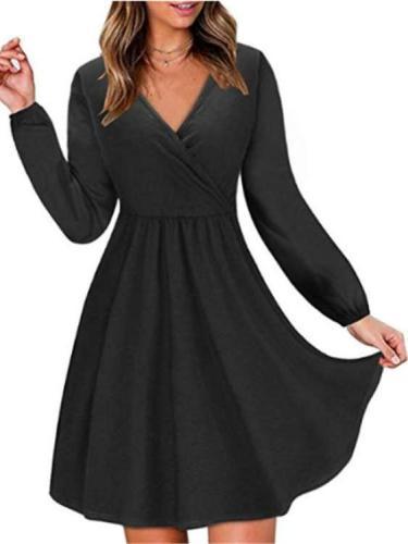 Fashion Tee V neck Long sleeve Skater Dresses