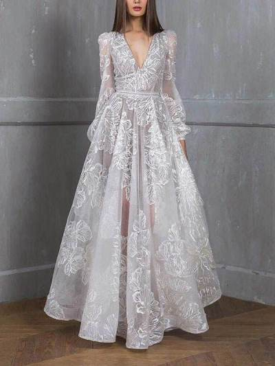Lace embroidered wedding party evening dresses