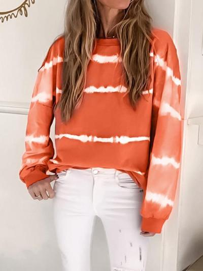 Loose casual printed round collar long sleeves sweatshirts