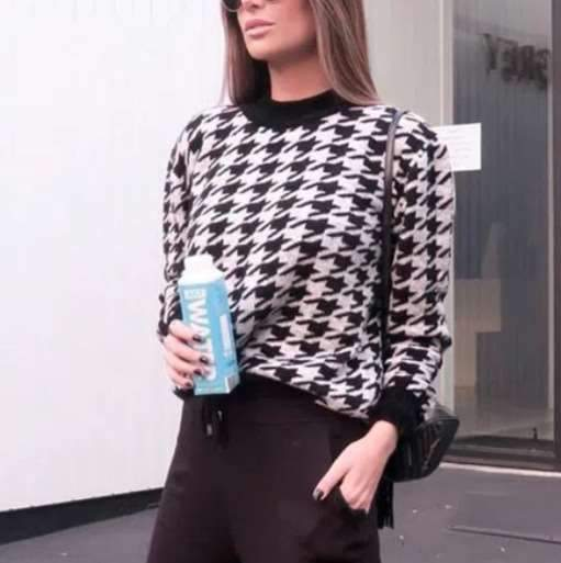 Fashion Casual Print Round neck Long sleeve Sweaters