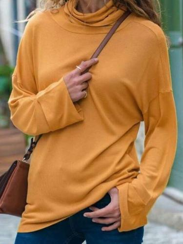 Loose Pure High collar Long sleeve T-Shirts