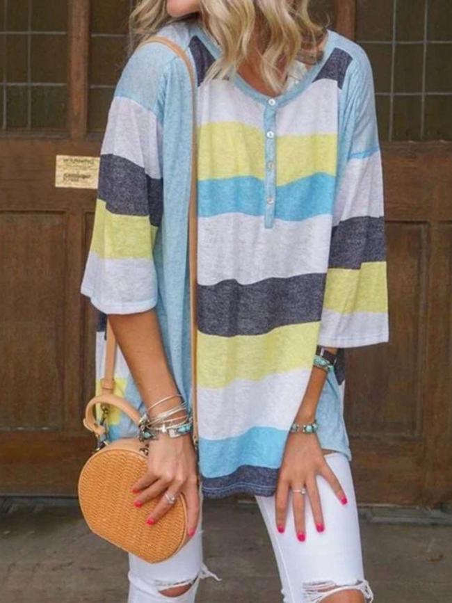 Women Striped Casual R-neck Half Sleeve T-shirt
