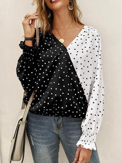 Patchwork polka dot long sleeve top casual blouses