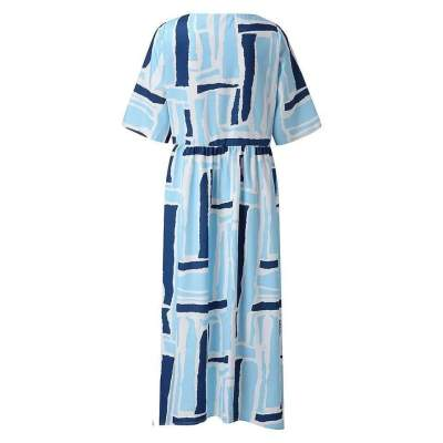 Casual Loose Print Round neck Half sleeve Maxi Dresses