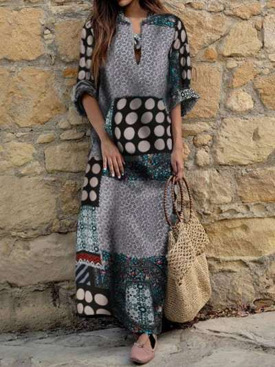 Fashion Print V neck Long sleeve Maxi Dresses