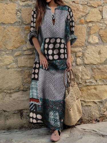 Fashion Print V neck Long sleeve Maxi Dresses