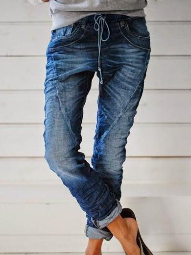 Casual Paneled Solid Side Pockets Self-tie Jean Pants