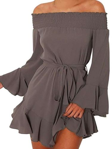 Sexy Off shoulder Long sleeve Lacing Shift Dresses