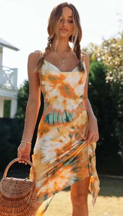 Sexy Vest Print Backless Shift Dresses