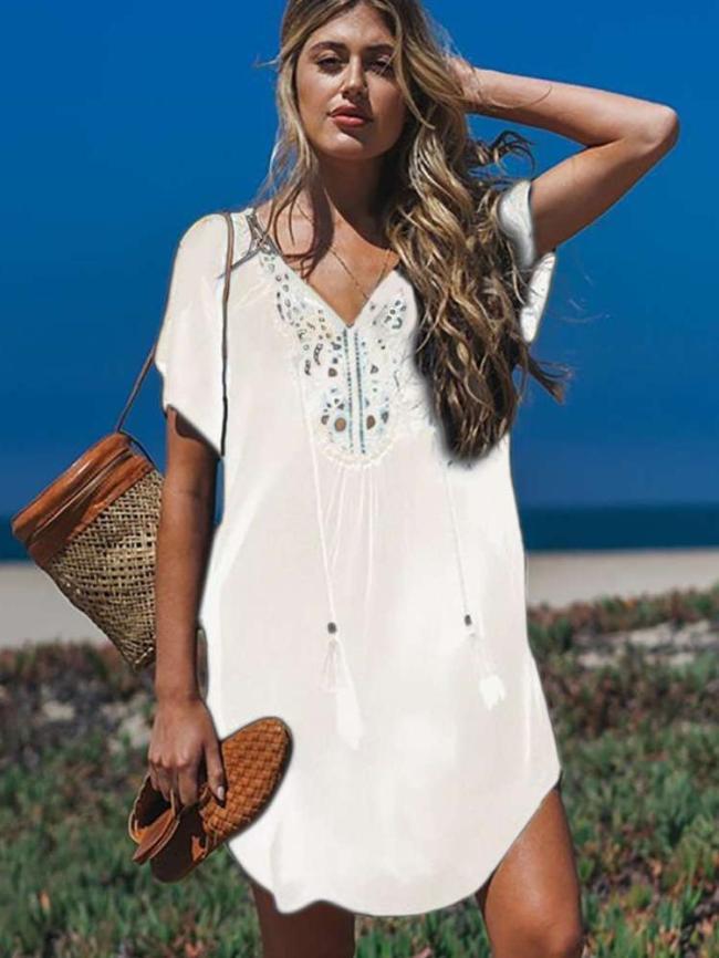 Fashion V neck Short sleeve Beach Shift Dresses