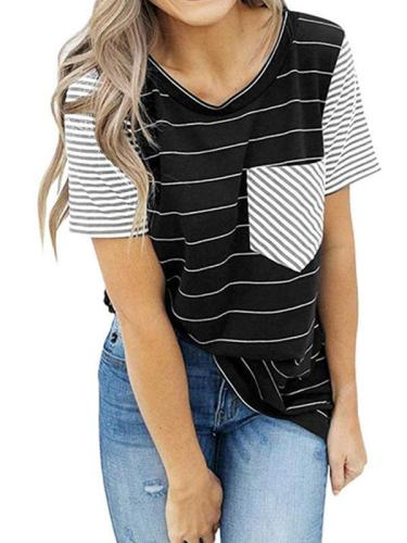 Short sleeve striped pocket stitching T - shirts