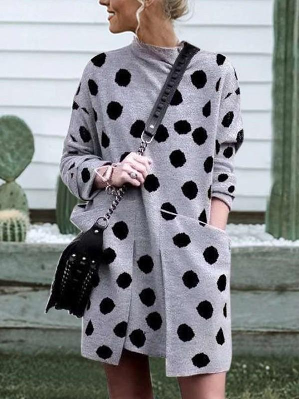Fashion Print Round neck Long sleeve Pocket Shift Dresses