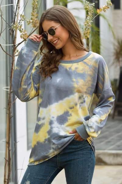 Loose Round neck Print Long sleeve Sweatshirts