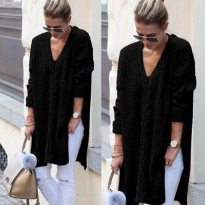 Fashion Knit V neck Long sleeve Vent Sweaters